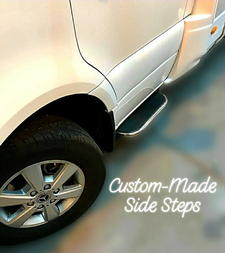 Custom made side steps for motorhome