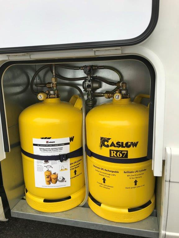 Gaslow bottles in motorhome