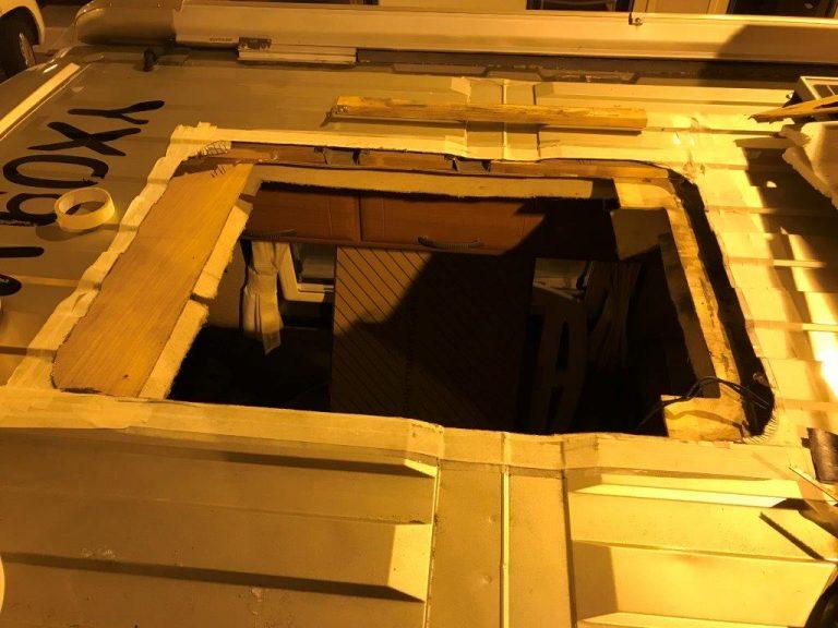 Motorhome sunroof fixing